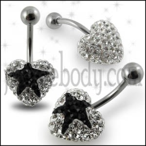 Crystal stone Black Heart In Surgical Steel navel Ring