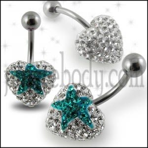 Crystal stone Heart Navel Ring In Surgical Steel  FDBLY354