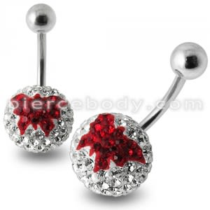 Butterfly Crystal stone Navel Ring