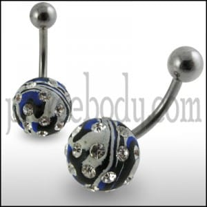 Multi Colored painted Crystal ball Banana Bar Belly Ring