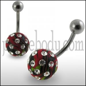 Red Colored Hand Painted Crystal Ball SS Bar Navel Ring