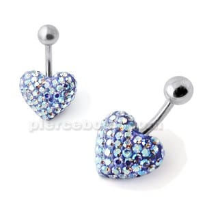 White And Blue Crystal Stone Heart Banana Bar Belly Ring