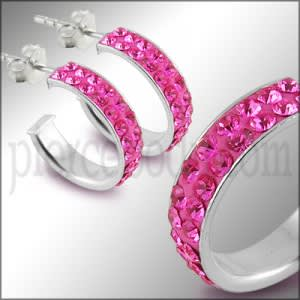 925 Sterling Silver  Pink Crystal Earring
