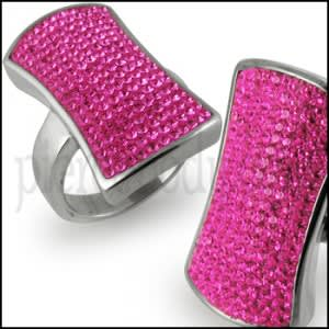 Chic Women Ladies Pink Crystal Jewelry Finger Ring