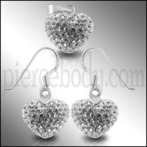 White Crystal stone Heart Earring Pendant Silver Jewelry set