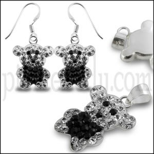 Black And White Color Crystal stone Teddy Bear Jewelry Set