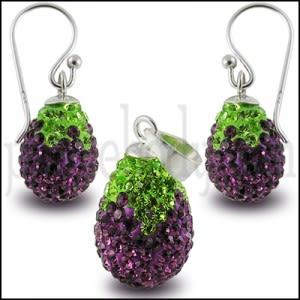 Blue Crystal stone Eggplant Earring Pendant SET Jewelry