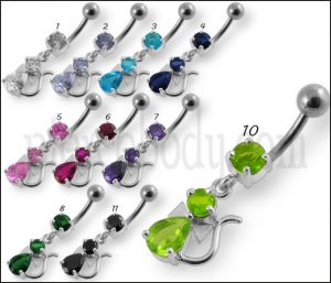 Green Jeweled Fancy Silver Dangling Banana Bar Belly Ring