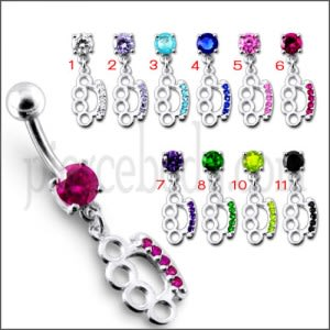 Fancy Jeweled Clip Dangling Belly Body Ring