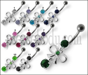 Fancy Gift Wrap Shape Jeweled Dangling Navel  Ring