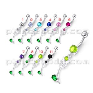 Mix Color Jeweled Flower Silver Dangling navel Body Ring with SS bar