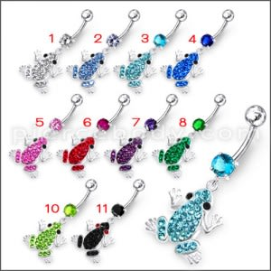 Jeweled Frog Dangling Belly Ring