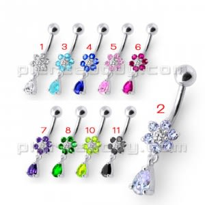 Fancy White Jeweled Flower Silver Dangling With SS Belly Ring
