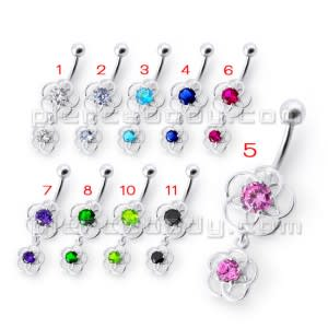 Fancy Classic Pink Stone Jeweled Dangling Curved Navel Ring Body Jewelry