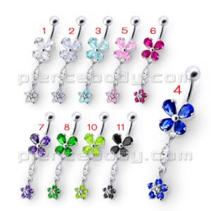 Fancy Jeweled Blue Stone Two Dangling Flower With Curved Bar Belly Ring