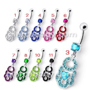 Fancy Girl Heart Jeweled Silver Dangling Curved Belly Ring