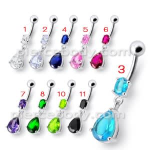 Fancy Tear Drop Jeweled Dangling Navel Ring
