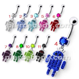 Silver Fancy Blue Jeweled ANDROID Dangling 316L SS Belly Ring