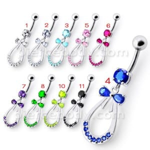 Silver Blue Stone Jeweled Dangling SS Bar Navel Body Jewelry