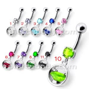Silver Jeweled Diamond Shape Dangling 316L SS Bar Belly Ring
