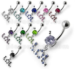 Fancy Stone Jeweled LOL Dangling Belly Ring