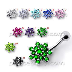 Silver Jeweled Flower Silver Titanium Bar Banana Navel Belly Ring