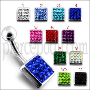 Fancy Jeweled Classical Square Silver Belly Ring