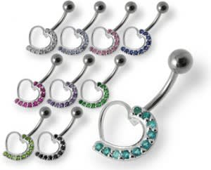 Fancy Heart Jeweled Silver Navel Belly Ring