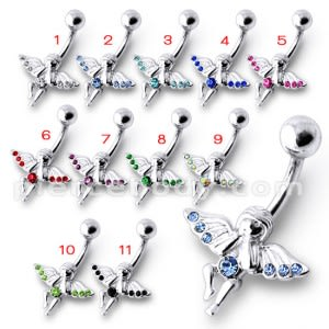 Fancy Jeweled Angle Silver Belly Button Ring Body Jewelry