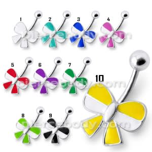 Rexine Ribbon bow Silver Belly Ring