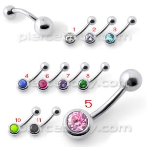 Jeweled Ball Silver Belly Ring