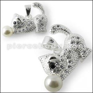 925 Sterling Silver Jeweled Kitty Pendant
