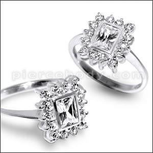 Vintage Silver CZ Jeweled Fashionable Stylish Ring