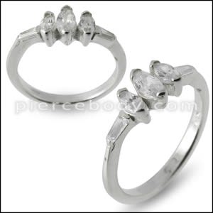 CZ Jeweled Fashionable Simple Silver Ring
