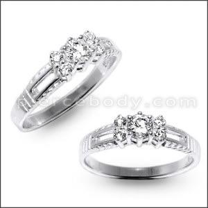 Stylish Jeweled Fashion Silver Ring Band