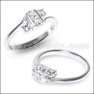 CZ Stone Jeweled Fashionable Finger Ring With 925 Sterling Silver