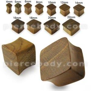 Square Teak-Wood Ear Plug