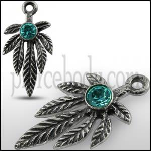 925 Sterling Silver Green jeweled Leaf Marijuna Pendant