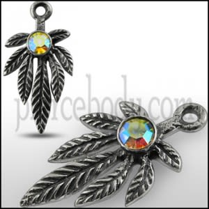 925 Sterling Silver Fancy Leaf Marijuna Pendant