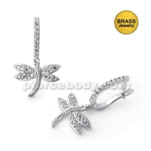 Micro Setting Jeweled Dragonfly Earring