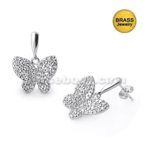 Rhodium Paltted Jeweled Butterfly Pendant