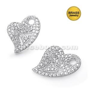 Micro Setting Jeweled Brass Heart Pendant
