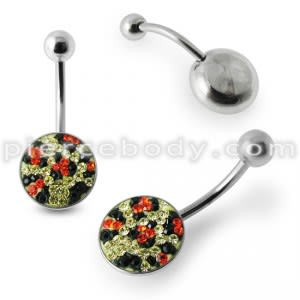 Mix Color Crystal stone Jeweled Design Belly Ring with steel Base SBLY015