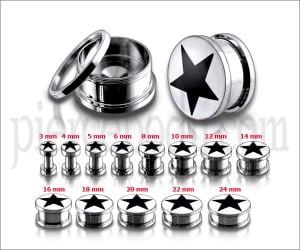 Black Star Logo With SS Screw Fit Ear Tunnel