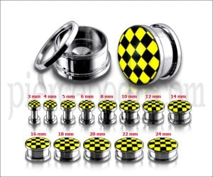 Yellow Checker Logo SS Screw Fit Ear Tunnel