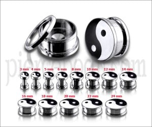 Black And White Ying Yang Logo With SS Screw Fit Ear Tunnel
