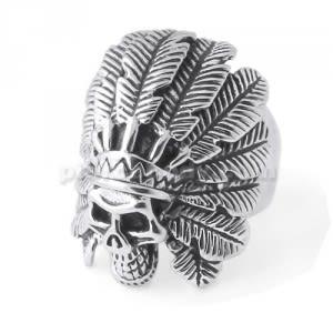 Native American Indian Skull finger ring