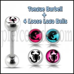 Tongue Barbell with 4 Free Scorpian Logo Ball
