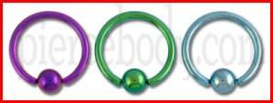 G23 Grade Anodised Titanium Captive bead Ring