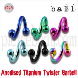 G23 Grade Anodised Titanium Twister Barbell